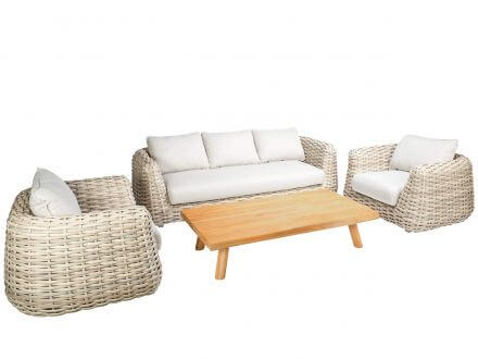 Tierra Outdoor 4-teiliges XL Polyrattan Lounge Set Wakkanda