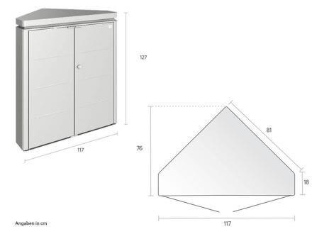 Vorschau: Biohort CornerBoard - Maße und Technische Details
