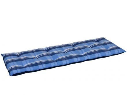 Gartenbankauflage blau-beige-kariert 140cm | Gartenmöbel Lünse