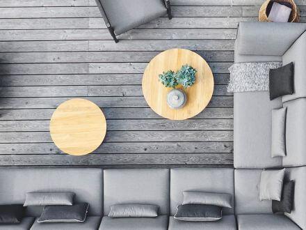 Vorschau: solpuri Grid Lounge- und Beistelltisch Alu Teak