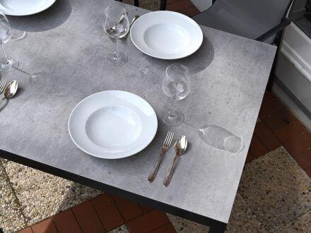Vorschau: Lünse Aluminium Gartentisch Maine 150x90cm anthrazit Detailbild
