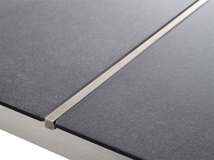 Vorschau: 2-teilige Keramiktischplatte mit Edelstahltrennleiste
