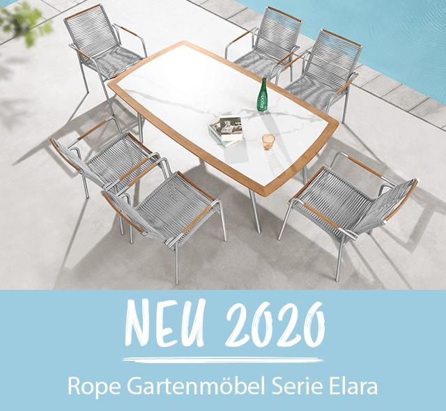 NEU im Sortiment: Edelstahl - Rope - Teakholz Gartenmöbel Serie Elara - jetzt mehr erfahren!