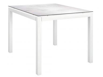 Stern Gartentisch 90x90cm Aluminium weiß/Silverstar 2.0 Zement hell