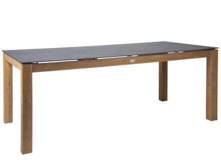 STERN Tisch 200x100cm Teak mit Tischplatte Dekton Lava anthrazit