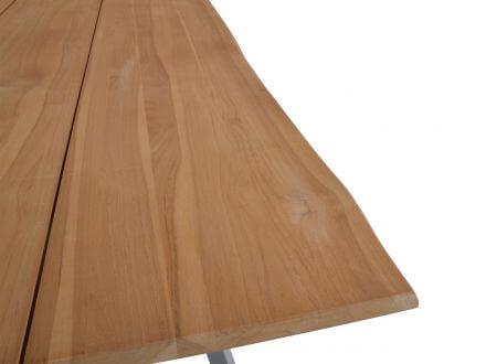 Vorschau: Tischplatte 3 Teakholz Bohlen mit natürlicher Außenkante