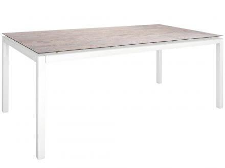 Stern Gartentisch 200x100cm Aluminium weiß/Silverstar 2.0 Sand