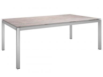 Stern Gartentisch 200x100cm Edelstahl Vierkantrohr / Sand