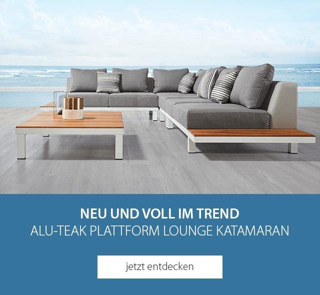 NEU und voll im Trend - Alu-Teak Plattform Lounge Katamaran