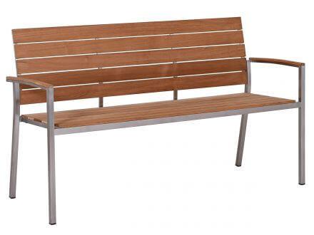 Lünse Edelstahl Teakholz Gartenbank Valis 150cm 3-Sitzer