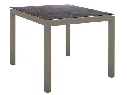 Stern Gartentisch 90x90cm Aluminium taupe/Silverstar 2.0 Vintage grau