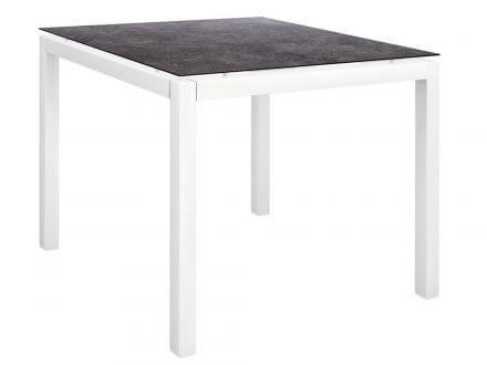 Stern Gartentisch 80x80cm Aluminium weiß/Silverstar 2.0 Vintage grau