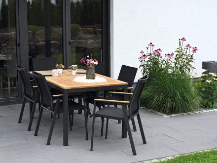 Vorschau: Lünse Aluminium Teakholz Gartentisch Serie Melago anthrazit