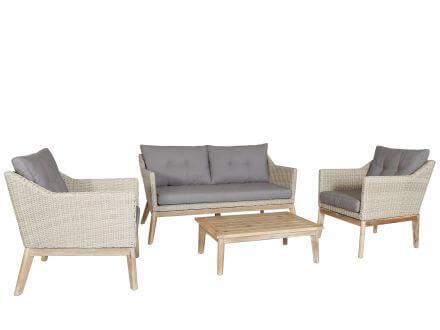 Lünse 4-teilige Holz Geflecht Loungegruppe Larissa