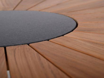 Vorschau: Lünse Teakholz Granit Gartentisch Lerici Ø120cm