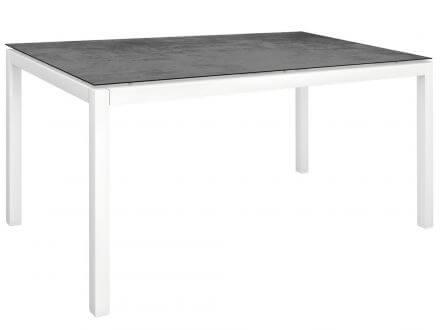 Stern Gartentisch 160x90cm Aluminium weiß/Silverstar 2.0 Zement