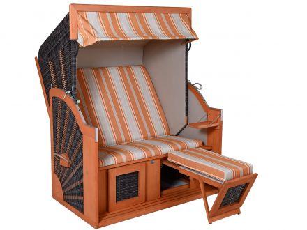 Lünse Strandkorb Carabic XL PE-Coffee orange-beige gestreift