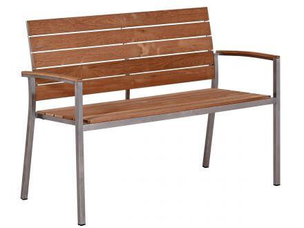 Lünse Edelstahl Teakholz Gartenbank Valis 120cm 2-Sitzer