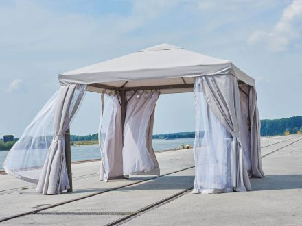 Vorschau: greemotion Gartenpavillon Portland 300x300cm grau|hellgrau