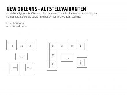 Vorschau: Aufstellvarianten modulare Loungemöbel New Orleans