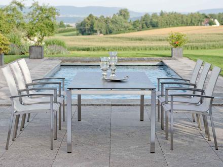 Vorschau: Beispiel Sitzgruppe mit Stern Edelstahl Gartentisch Silverstar 2.0