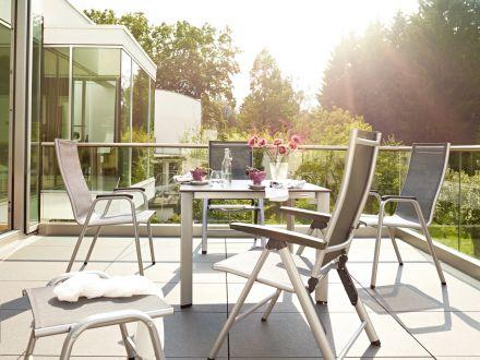 Vorschau: Kettler Sitzgruppe Cirrus silber/anthrazit-grau im Garten