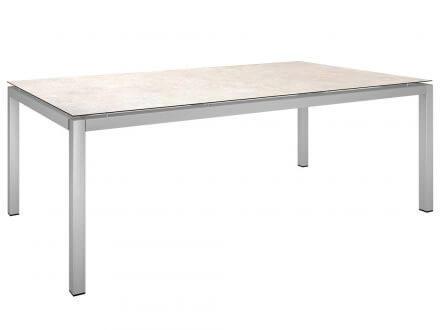 Stern Gartentisch 200x100cm Edelstahl Vierkantrohr / Travertin