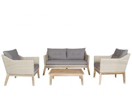 Vorschau: Lünse 4-teilige Holz Geflecht Loungegruppe Larissa