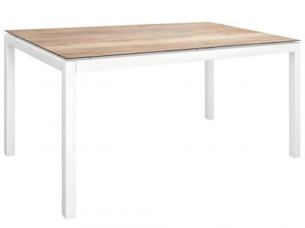 Vorschau: Stern Gartentisch 130x80cm Aluminium weiß/Silverstar Touch Tundra natur