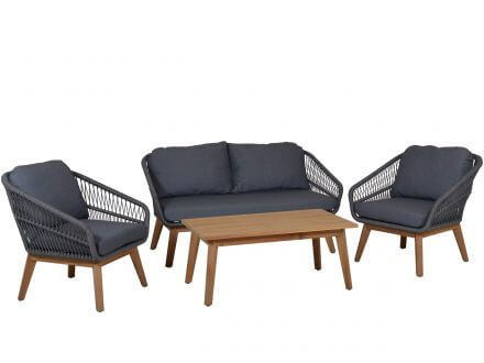 Lünse Rope Teak Loungeset Orchid 4-teilig shaded-grey