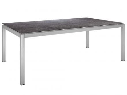 Stern Gartentisch 200x100cm Edelstahl Vierkantrohr / Vintage grau