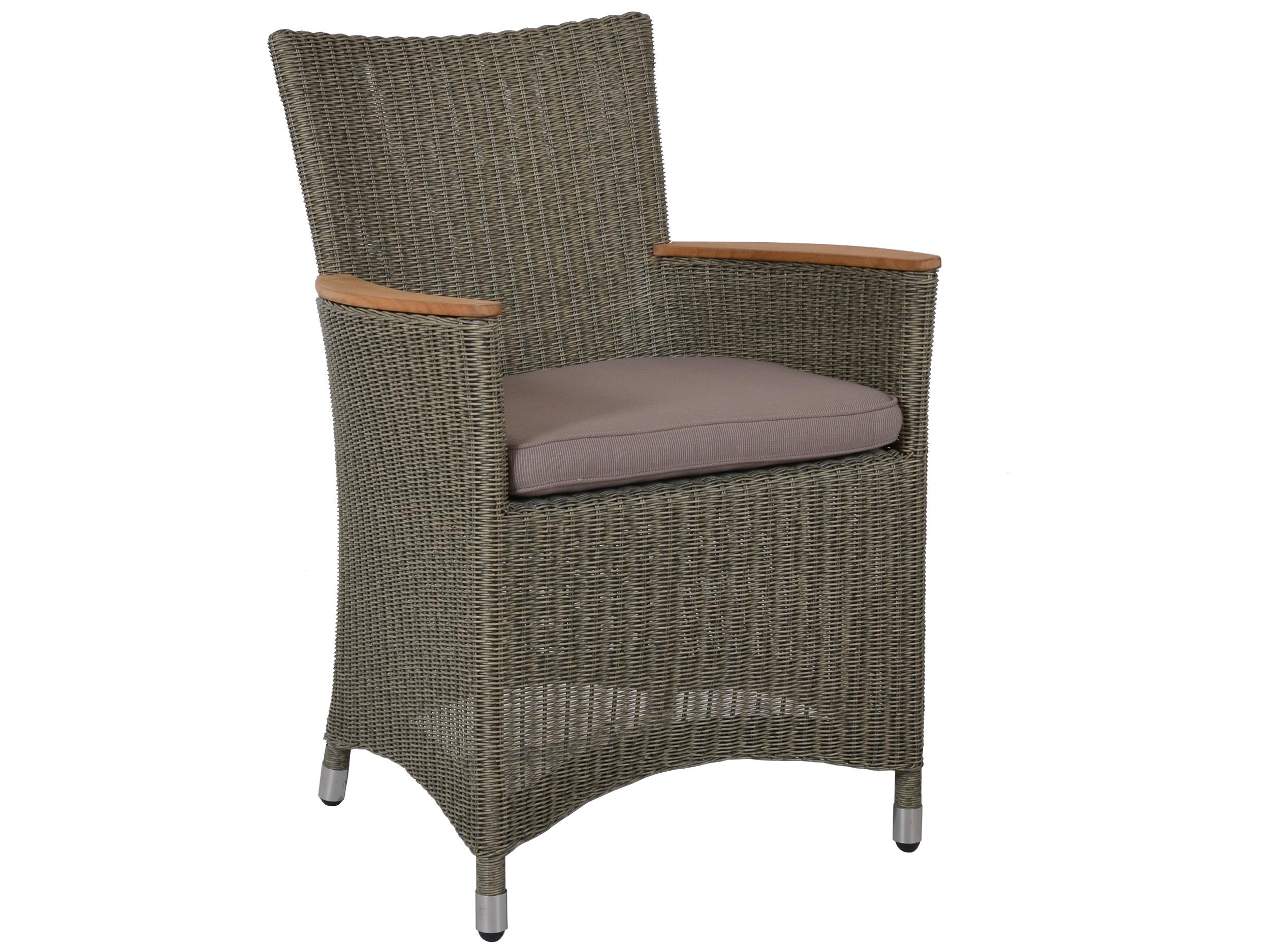 polyrattan gartensessel mit teakholz armlehnen gartenm bel l nse. Black Bedroom Furniture Sets. Home Design Ideas