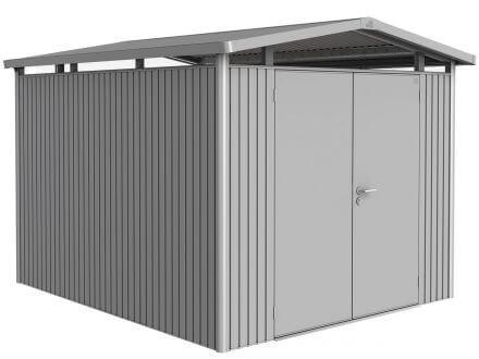 Gerätehaus Panorama® P5 silber-metallic mit Doppeltür