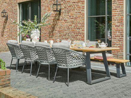 Vorschau: Suns Nappa Dining Chair Rope matt royal grey Macramé weaving