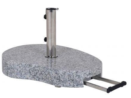 Schirmständer 60kg Granit grau Teleskopgriff & Rollen