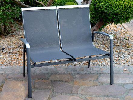 Vorschau: Lünse Alu Gartenbank Bristol 2-Sitzer anthrazit|anthrazit