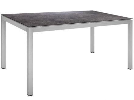 Stern Gartentisch 160x90cm Edelstahl Vierkantrohr / Vintage grau
