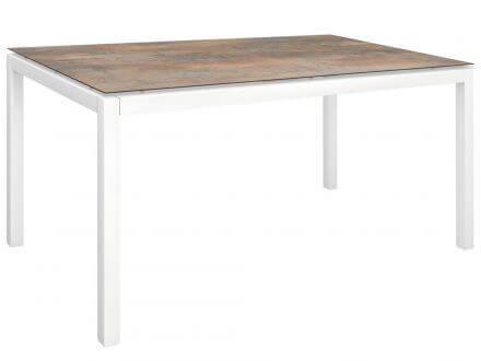 Stern Gartentisch 160x90cm Aluminium weiß/Silverstar 2.0 Ferro