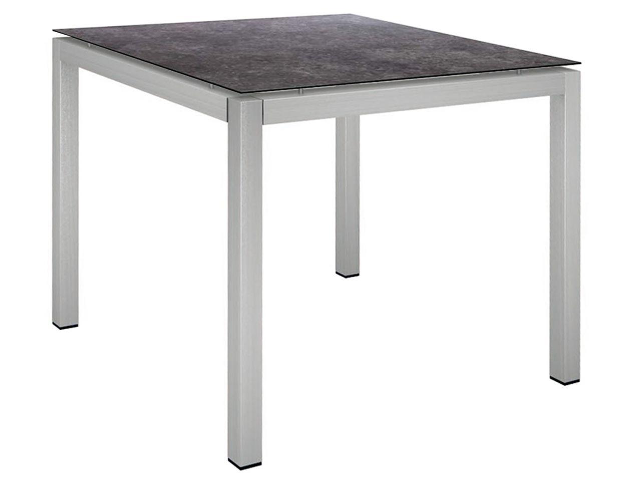 Stern Gartentisch 90x90cm Edelstahl Vierkantrohr / Vintage grau