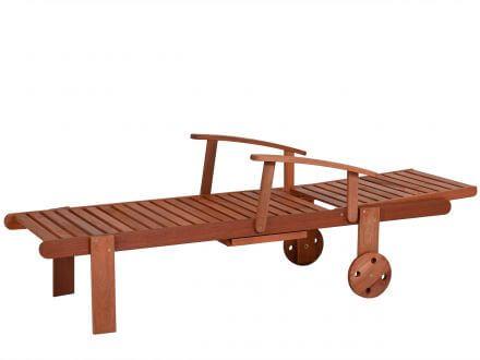 Vorschau: Lünse Holz Gartenliege Cassino mit Rollen und Ablage