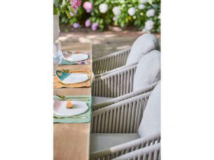 Vorschau: Suns Avero Dining Chair Alu matt royal grey Rope camel sand