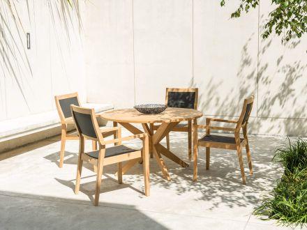 Vorschau: Roble Holz Gartentisch Tivoli X-Leg Ø125cm