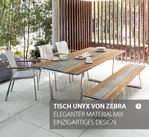 Gartentisch Unyx von ZEBRA - einmaliger Materialmix, einzigartiges Design