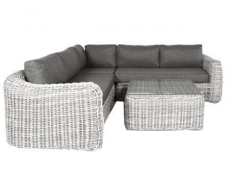 Vorschau: Lünse Polyrattan XL Eck-Loungeset Livadia white-faded-grey