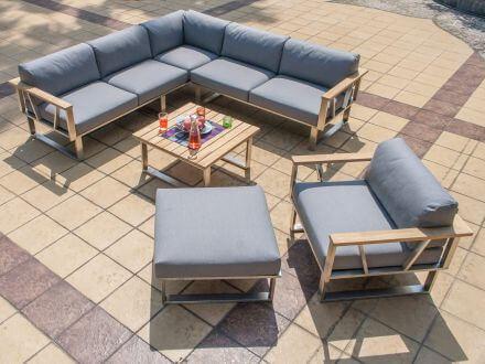 ZEBRA 5-teilige Edelstahl Teakholz Lounge Ecke Belvedere