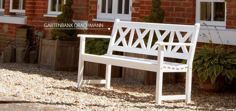 weiß lackierte Gartenbank Drachmann mit Stil - jetzt entdecken