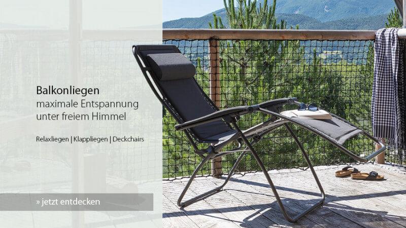 für maximale Entspannung auf dem Balkon: große Auswahl bequemer Balkonliegen