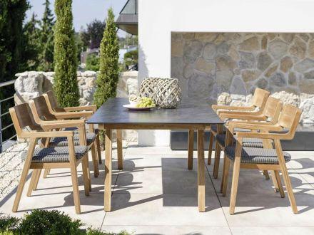 Vorschau: Stern Tischsystem Gartentisch Interno Teak HPL Silverstar 2.0