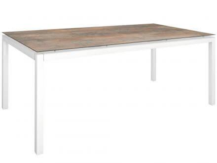 Stern Gartentisch 200x100cm Aluminium weiß/Silverstar 2.0 Ferro