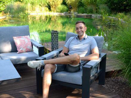 Vorschau: Alu Loungesessel Black Pearl - hoher Sitzkomfort